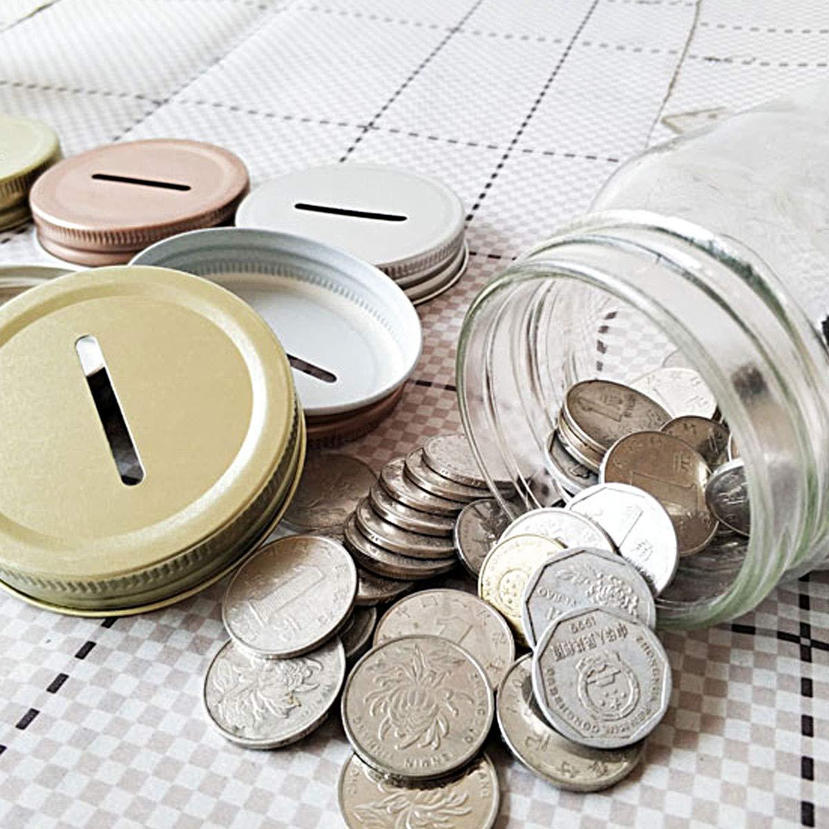 TiaoBug 8 Pieces Metal Coin Slot Bank Lids for Mason Jar Ball Canning Jars Silver One Size by TiaoBug (Image #2)