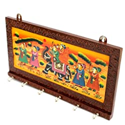 RAJKRUTI DELIVERING HAPPINESS Wooden Handicraft Wall Decor Ethnic Rajasthani Key Holder Show Piece Gift (Multicolour, 12x0.5x6-inch)