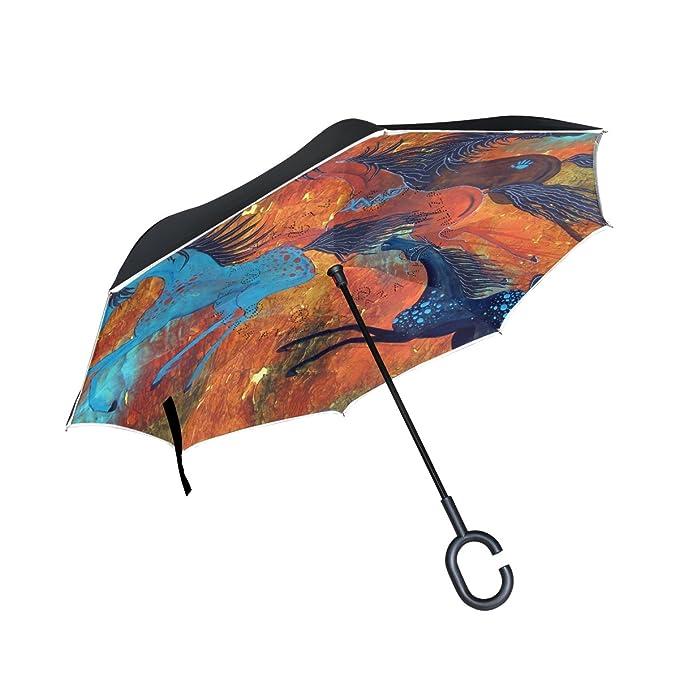 BENNIGIRY - Paraguas reversible de doble capa con diseño de caballo rojo retro y pintura al óleo, protección UV resistente al viento, gran paraguas recto ...