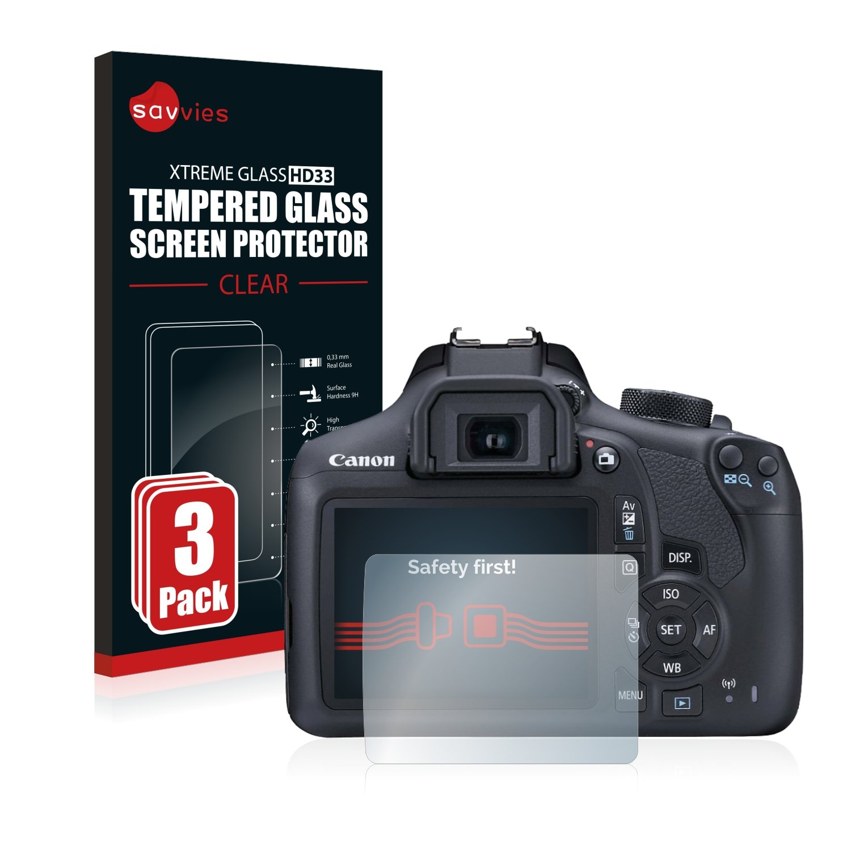 savvies Cristal Templado Compatible con Canon EOS 1300D (3 ...