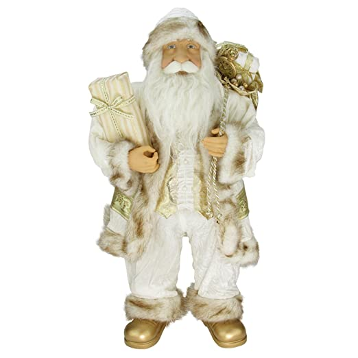 Christmas Tablescape Decor - Glorious Christmas Ivory and Gold Santa Claus Standing with Gift Bag by Northlight
