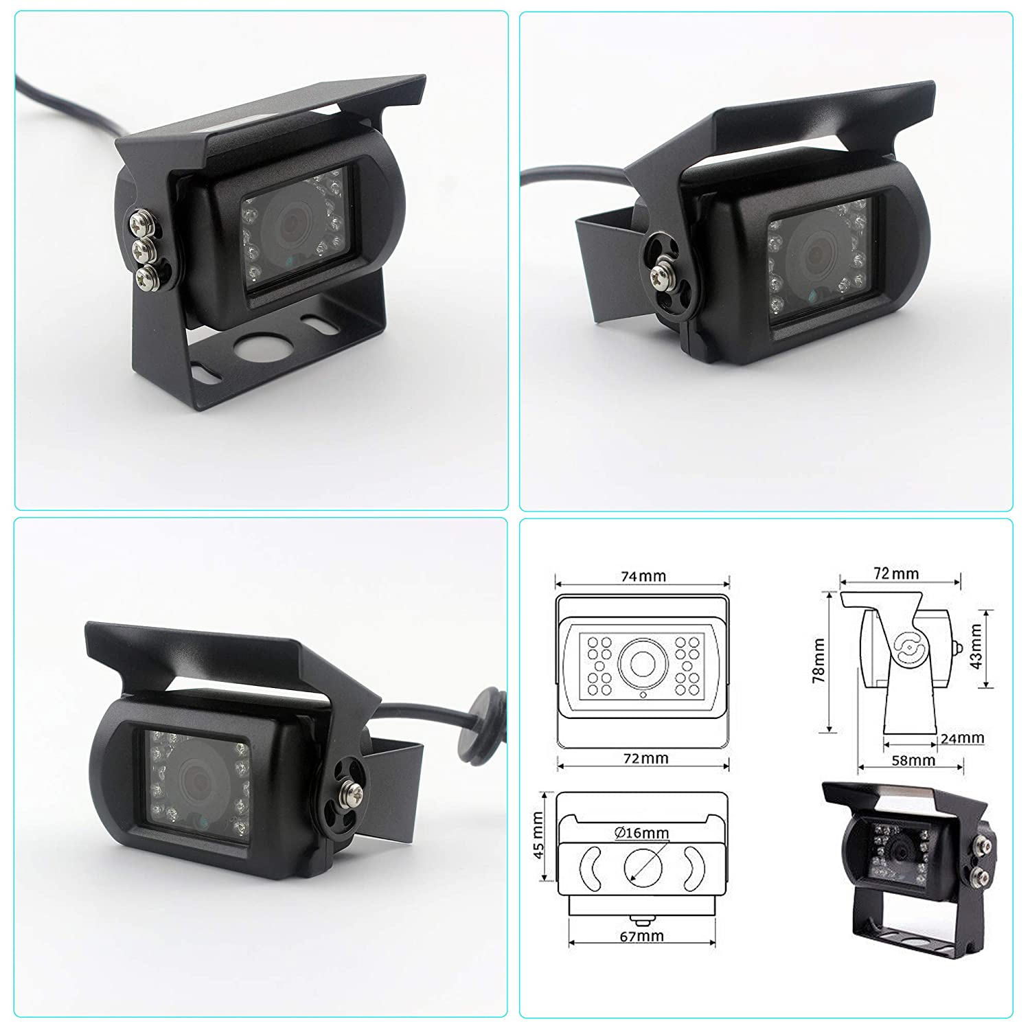 LTD CL9D129 CAMSLEAD Car Backup Camera System 9 Monitor Built-in DVR Recorder with Quad Split Screen CCD Waterproof Night Vision Side Camera Rear View Camera Monitor Kit for Truck Van Caravan Trailers Camper RV Guangzhou Zhiren Electronic Co