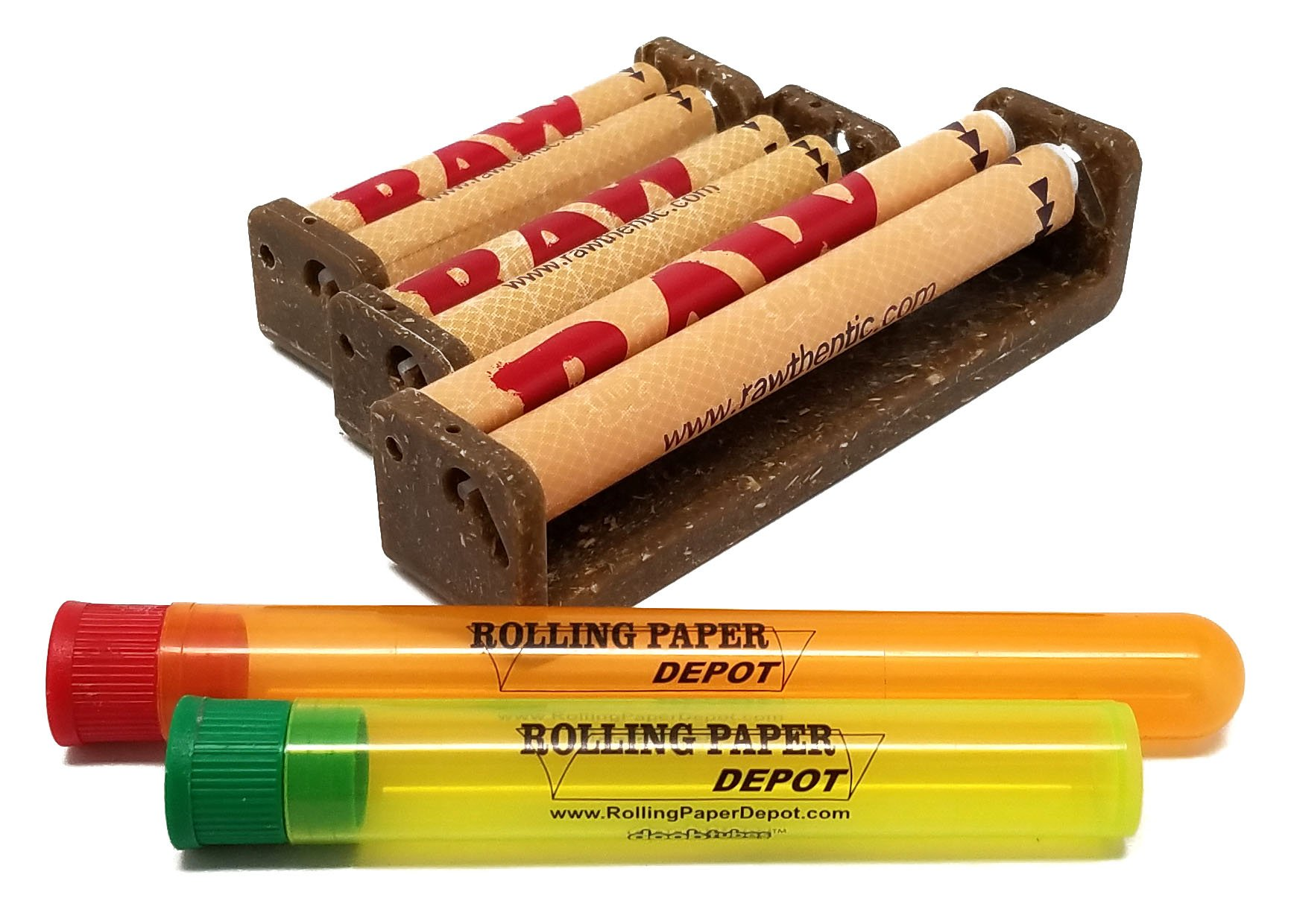 Bundle - 5 Items - RAW Cigarette Rollers 3 sizes; 70mm, 79mm and 110mm with 1 Regular and 1 Extra Large Rolling Paper Depot Kewltubes