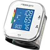 MeasuPro Portable Wrist Blood Pressure Monitor with Heart Rate Meter, Hypertension Color Alert Display, Two User Modes, IHB Indicator and Memory Recall