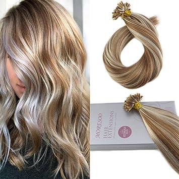 cf5f411c0b54cb Moresoo 18 Zoll Remy Echthaar Extensions Keratin Bondings Braun #6  Highlight mit Platin Blondine #