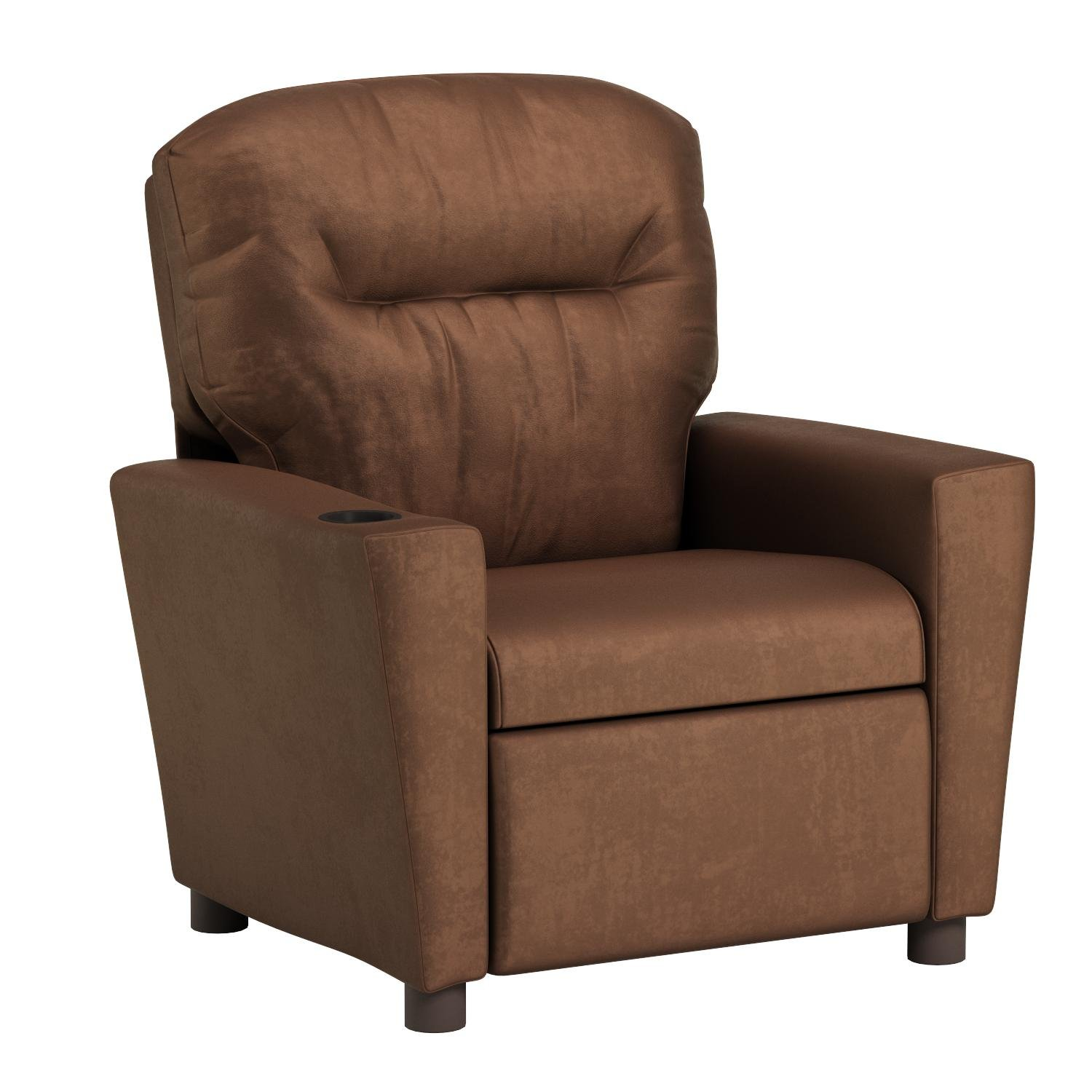 Kidz World Kids Recliner w Cupholder w Chocolate Suede 446464, Brown