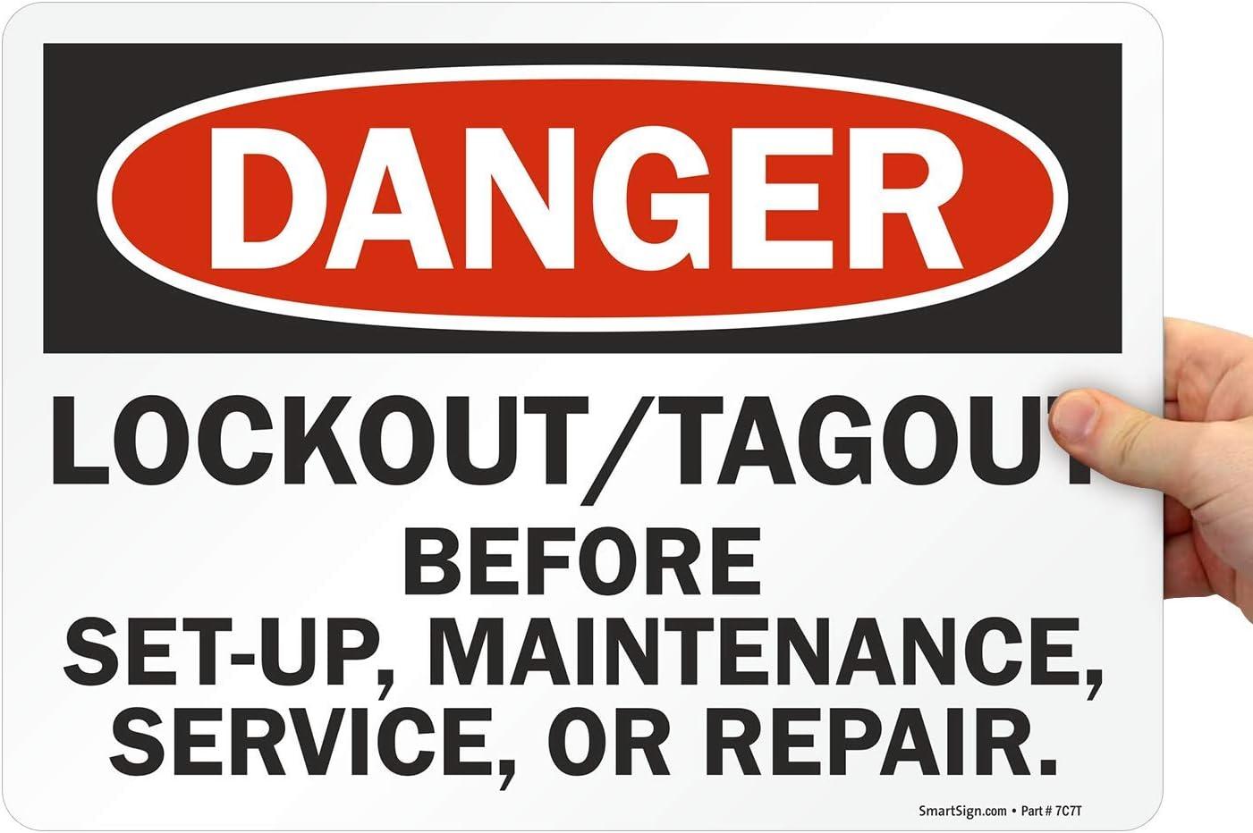 OSHA Danger Sign Lockout Before EnteringHeavy Duty Sign or Label