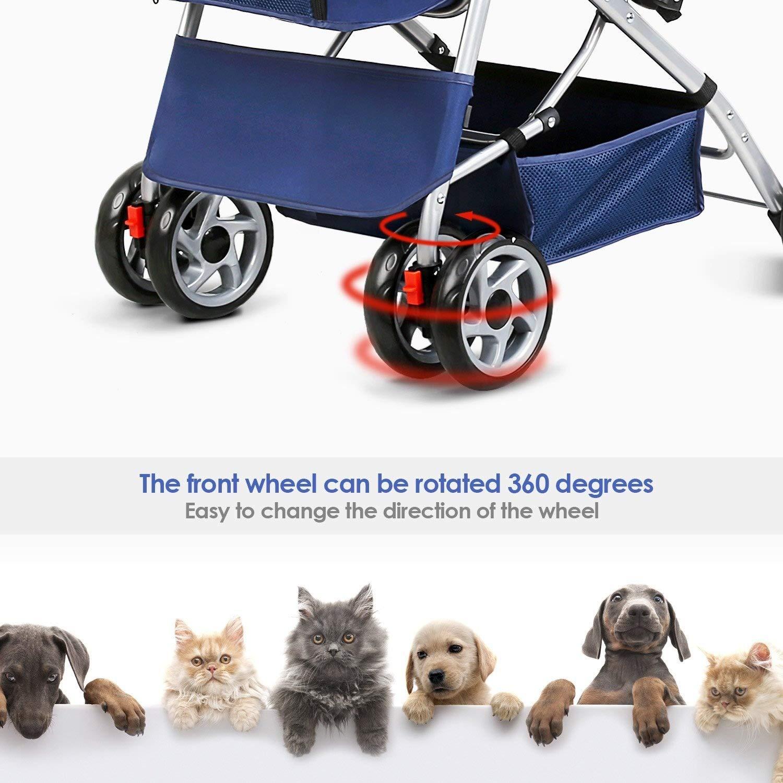 PETCAR Pet Travel Pet Pet Pet Carrello a Quattro Ruote Gatti Cani Carrelli Antiurto Durevole Passeggino Regolabile Direzione One-Click Pieghevole InsDimensionezione Rapida (colore   Blu) 7a3bc7