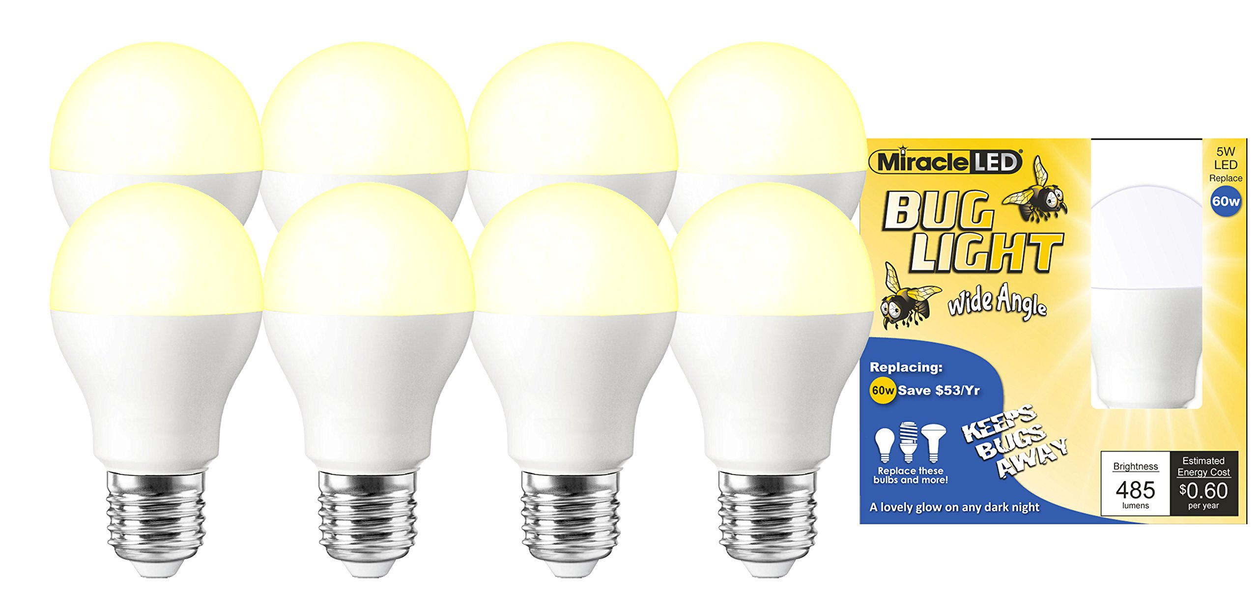 Miracle LED Wide Angle Yellow Bug Light - Replaces 60W - A19 Outdoor Bulb for Porch and Patio - 8 Pack (604999)