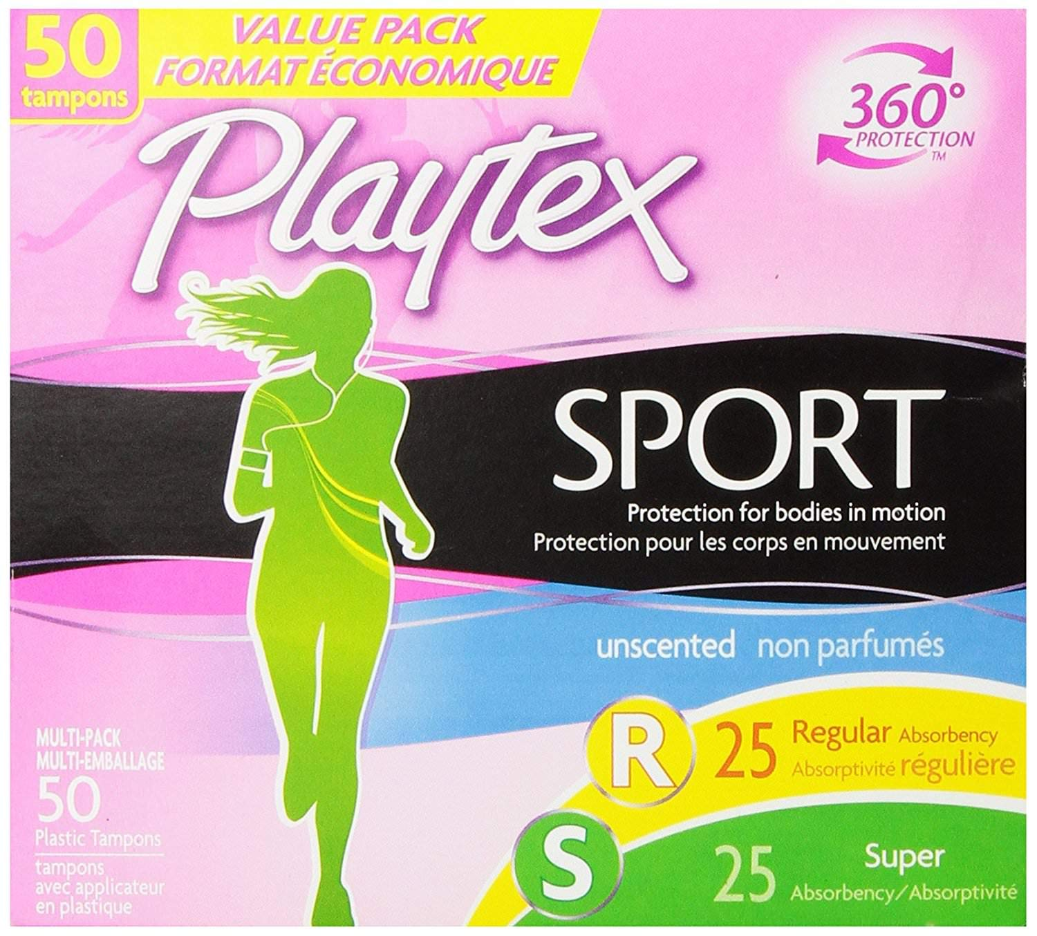 Playtex Sport Tampons with Flex-Fit Technology Regular and Super Multi-Pack Unscented, 150 Tampons