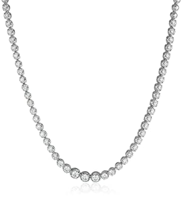 Amazon 14k white gold diamond tennis necklace 3 cttw k l 14k white gold diamond tennis necklace 3 cttw k l color i1 i2 aloadofball Image collections