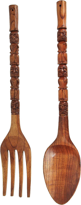 Zeckos 35 Inch Carved Tiki Spoon & Fork Wooden Wall Decor Art Utensil Decoration Set