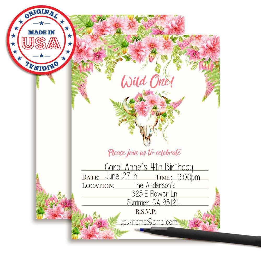 Amazon Boho Floral Wild One Girl Birthday Invitations 20 5x7