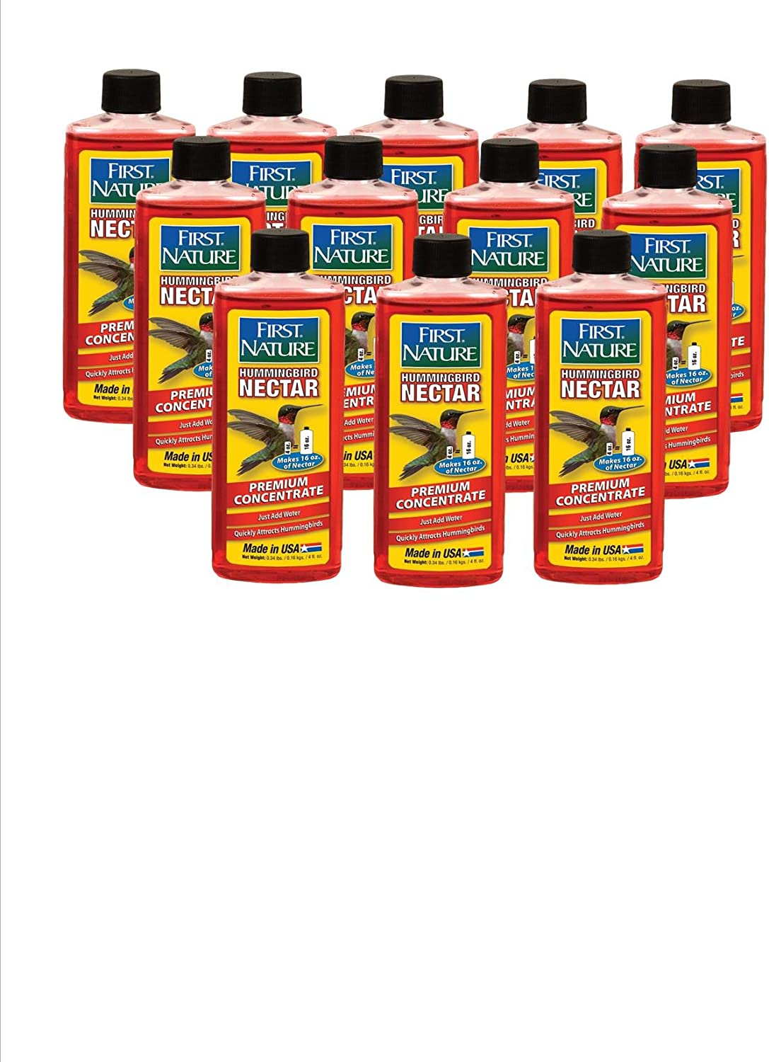 12-Pack First Nature 3056 Red Hummingbird Nectar Concentrate (Makes 16 oz. of Feed Each) 4 oz.