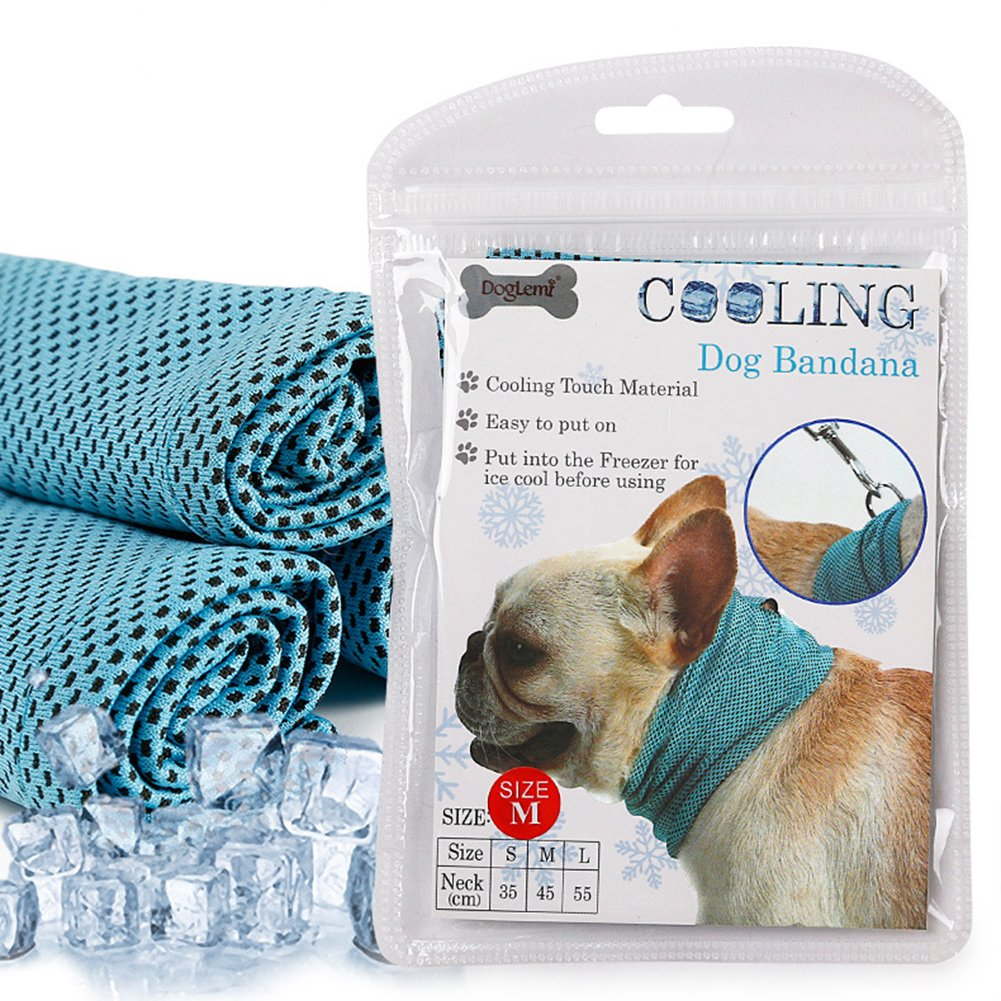 ieasysexy Summer Pet Cold Feeling Neck Scarf Cattle Fighting Cat Dog Cool Collar Scarf Triangle Towel (L)