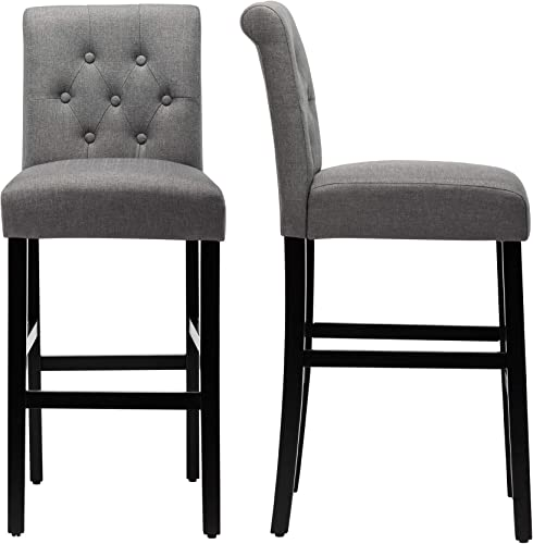 LSSBOUGHT Set of 2 Button-Tufted Fabric Barstools Dining High Counter Height Side Chairs Seat Height: 30 inche