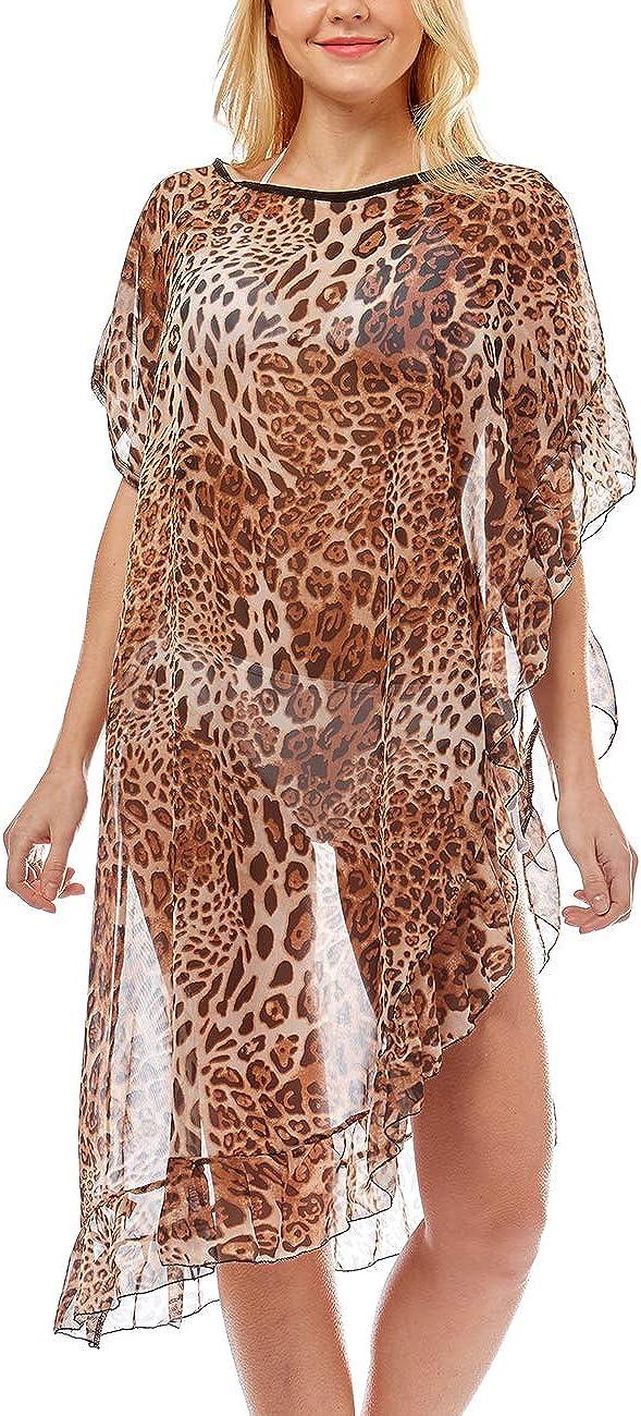Mirmaru Women S Leopard Print Swimsuits Bikini Cover Up Summer Beach Swimwear Bikini Beachwear Tassel Kimono Cardigan Lof1035 Beige At Amazon Women S Clothing Store