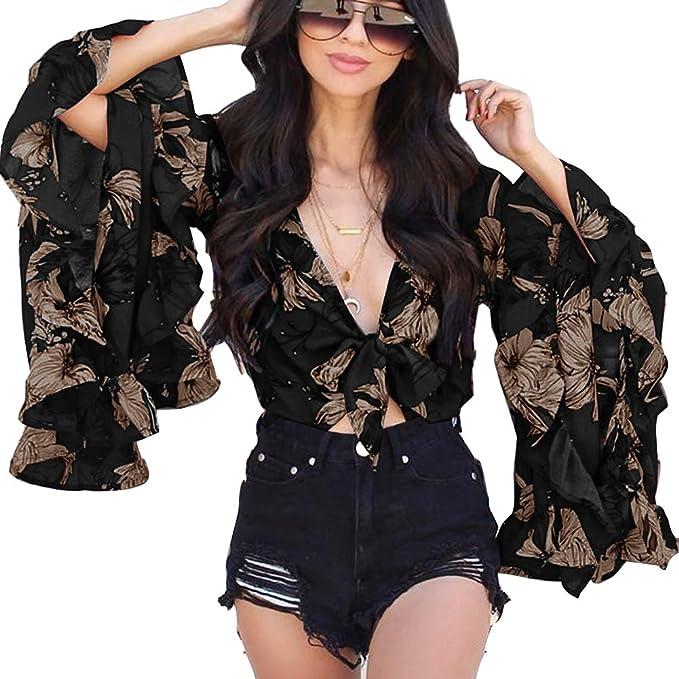 Hibote Mujer Blusas Tops con Volantes - Mujeres Camisas Cortas Blusa con Cordones V Profundo Sexy