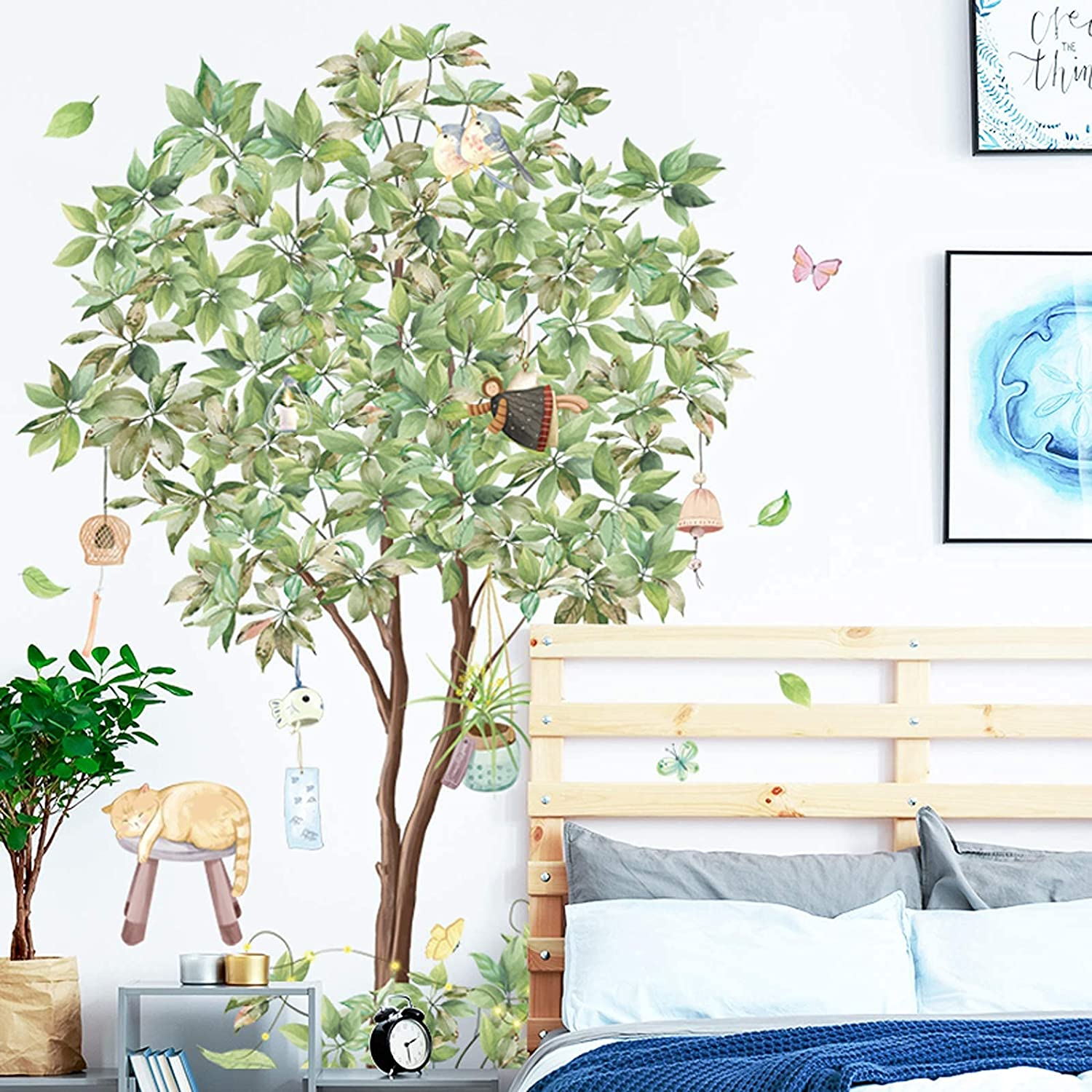 Green Tree Wall Decal Lazy Cat Wind Chime Wall Stickers, Removable Waterproof 3D Fresh Leaves Wallpaper, DIY Art Murals for Nursery Bedroom Living Room Office TV Background Decor