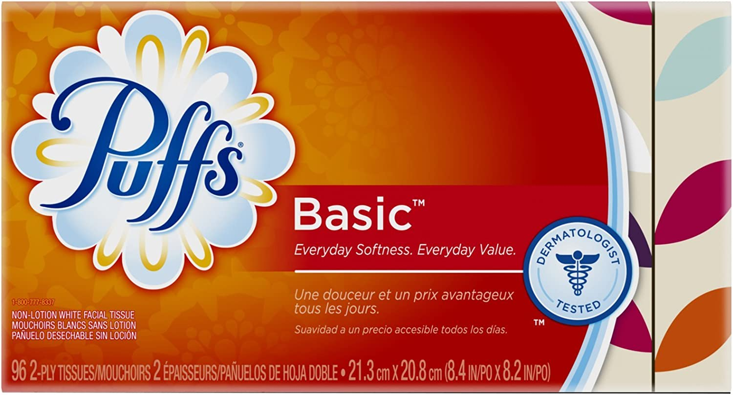 Puffs Basic Facial Tissue White 96 CT