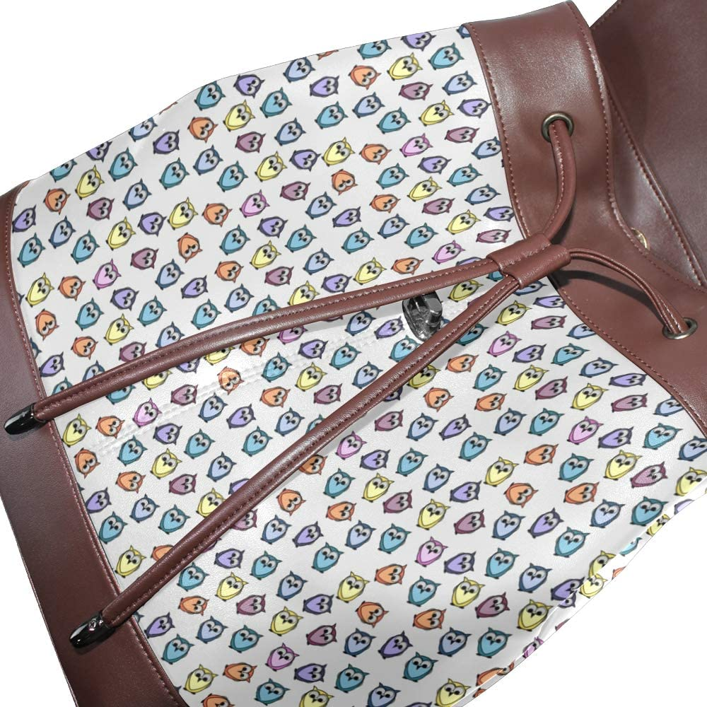 Leather Owl Pattern Backpack Daypack Bag Women