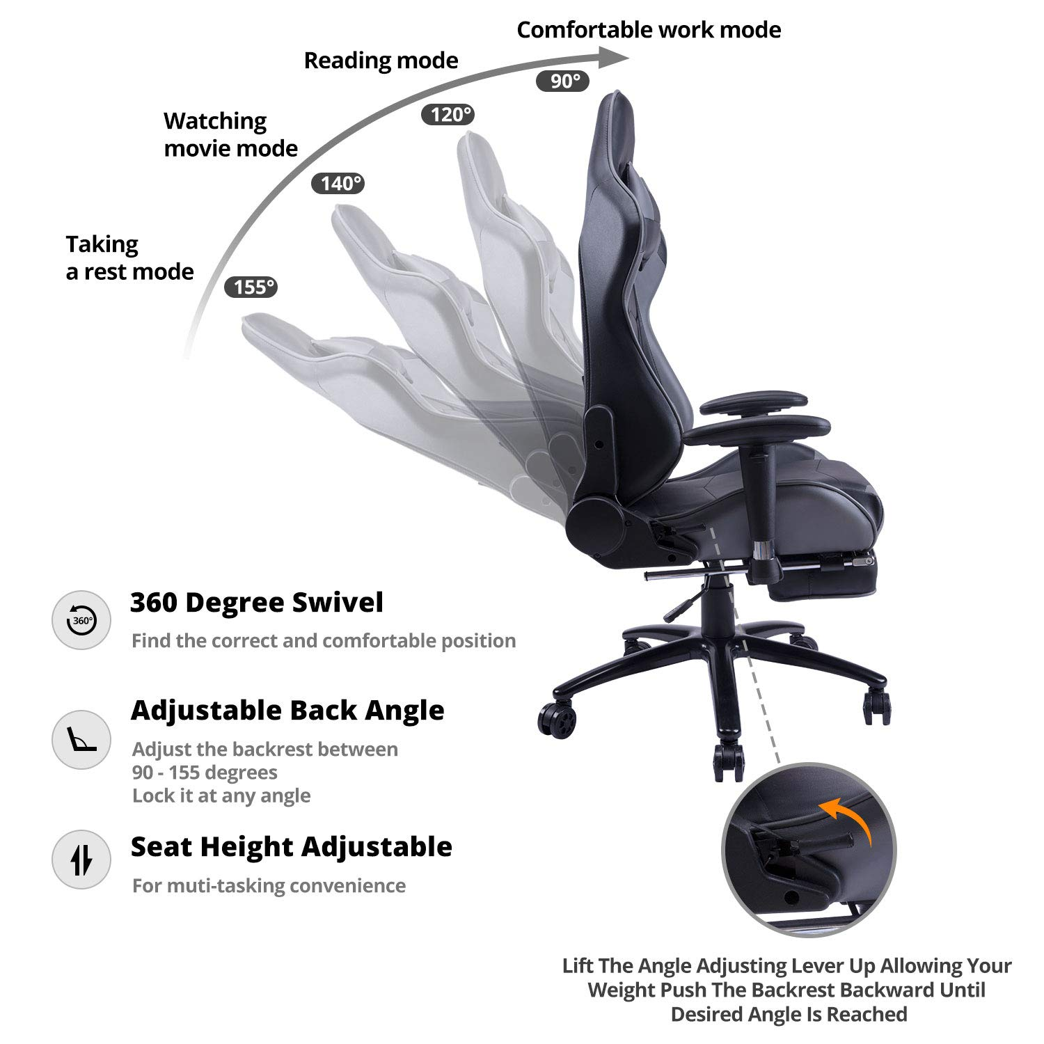 KILLABEE Big and Tall 350lb Massage Gaming Chair Metal Base - Adjustable Massage Lumbar Cushion, Retractable Footrest High Back Ergonomic Leather Racing Computer Desk Executive Office Chair by KILLABEE (Image #2)