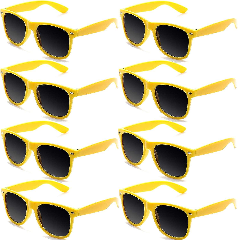FSMILING Gafas de Sol Vintage Retro Colores de Neon Gafas de Fiesta para Mujer Hombre (8 Piezas Amarillo): Amazon.es: Ropa y accesorios