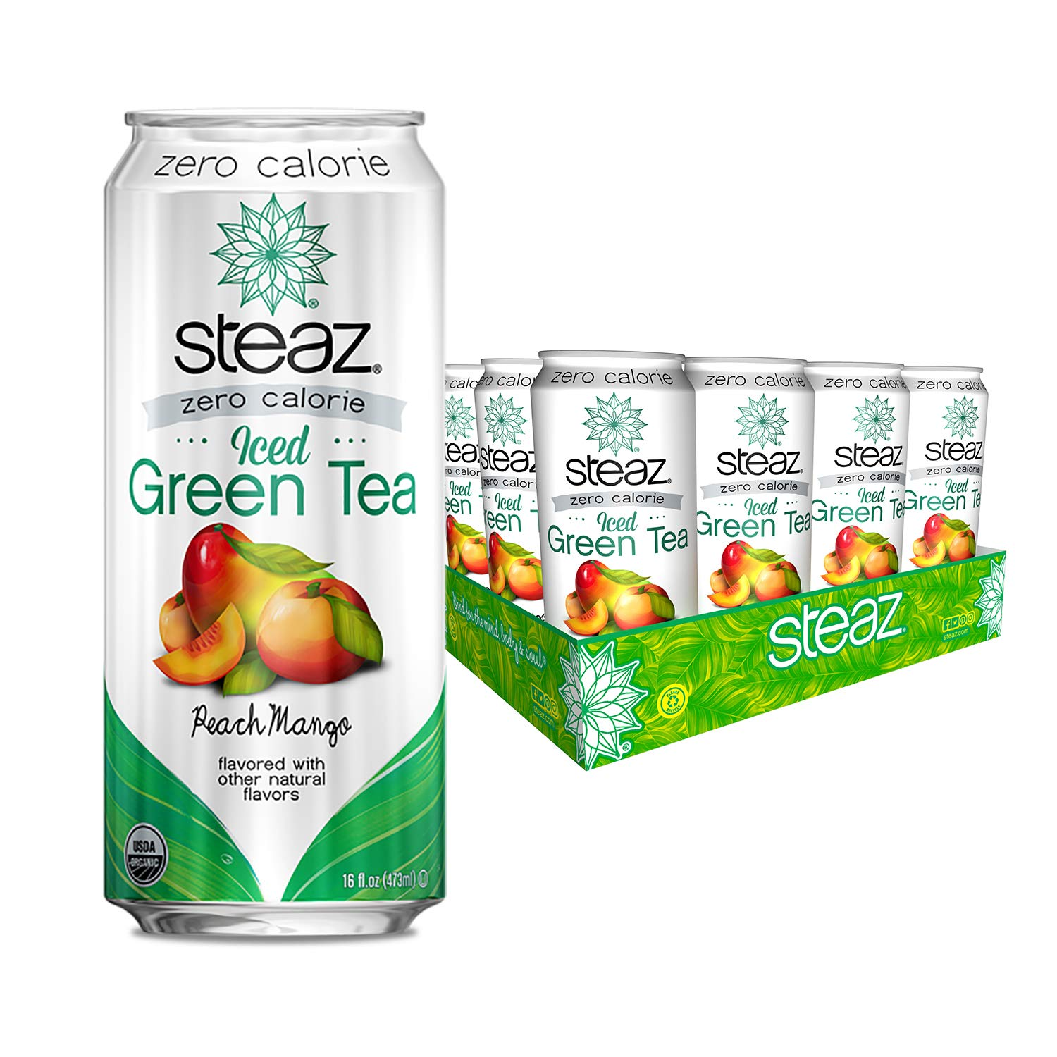 Steaz Zero Calorie Iced Green Tea, 16 OZ (Peach Mango)