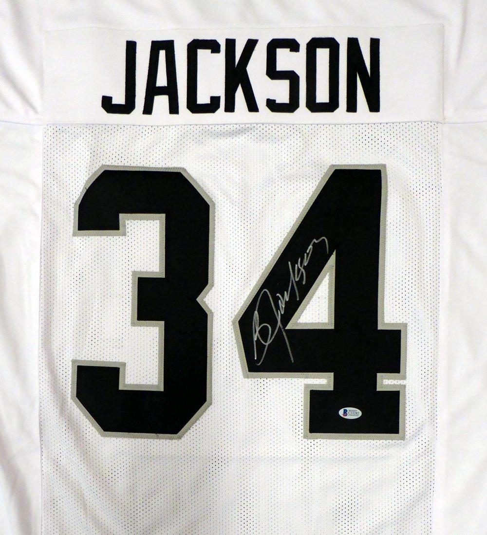 OAKLAND RAIDERS BO JACKSON AUTOGRAPHED WHITE JERSEY BECKETT BAS STOCK #125137