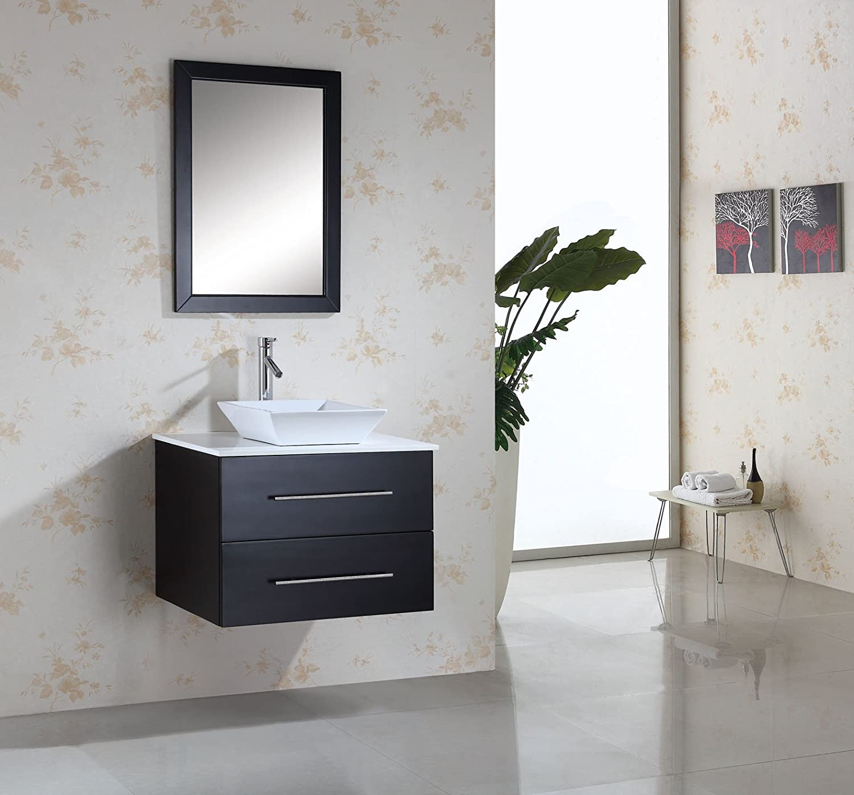 Virtu USA MS 560 S ES Marsala 30 Inch Wall Mounted Single Sink Bathroom  Vanity Set With White Stone Countertop, Faucet, Espresso Finish   Modern  Vanity ...
