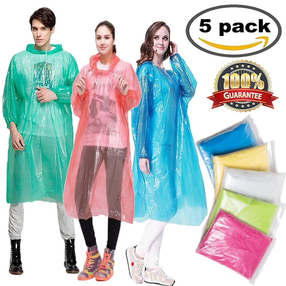 Meiso Emergency Disposable Rain Ponchos for Men Women 5 Pack Adults Portable Super Waterproof Raincoat with Drawstring Hood and Elastic Sleeve Ends Thicker Rain Poncho Family Pack by