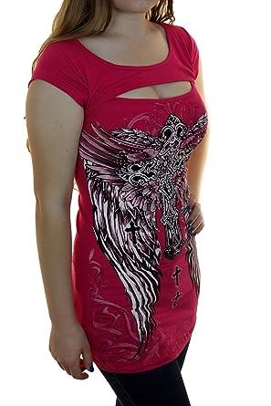 75cd96dd34de8 Bling Rhinestone Tattoo Cross Rose Wings Peekaboo Short Sleeve New Top  (Small