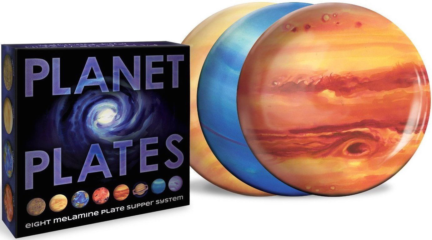 Planet Plates Set - Eight 10 Inch Melamine Astronomy Dinner Plates by The Unemployed Philosophers Guild