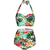 Lover-Beauty Women's Retro 50s High Waisted Halter Bikini Polka Swimsuits