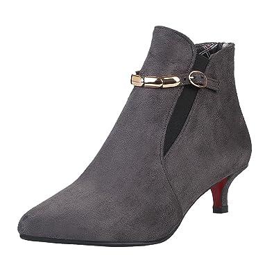 afdd8cb190efee Damen Kleiner Absatz Stiefeletten mit Schnalle und 4cm Absatz Ankle Boots  Aiyoumei Viele Arten Von Zum