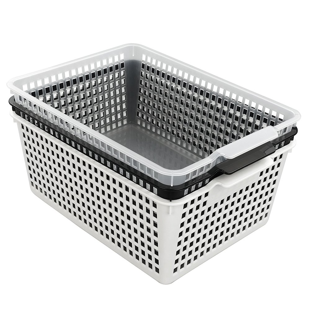 Kekow Large Ultra Basket Storage Organizers Bin, Perforated Design, 3-Pack, F by Kekow (Image #7)