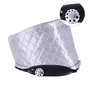 AJUN Hair Steamer Cap Deep Conditioning Thermal Treatment Cap 110V 8 Mode Temperature Adjustable Leather Silver Heating Cap