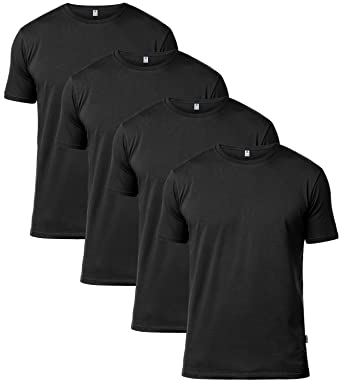 LAPASA x4 Value Pack Men's - Cotton T-Shirts - Short Sleeves & Crew Neck  Shirt - Black & White & Multicolour - M34