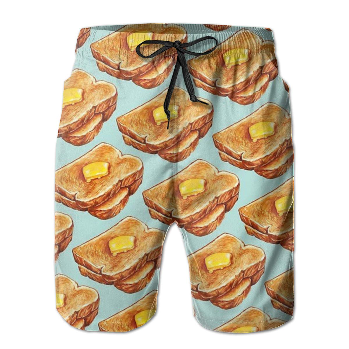 Wexzss Buttered Toast Funny Summer Quick-Drying Swim Trunks Beach Shorts Cargo Shorts