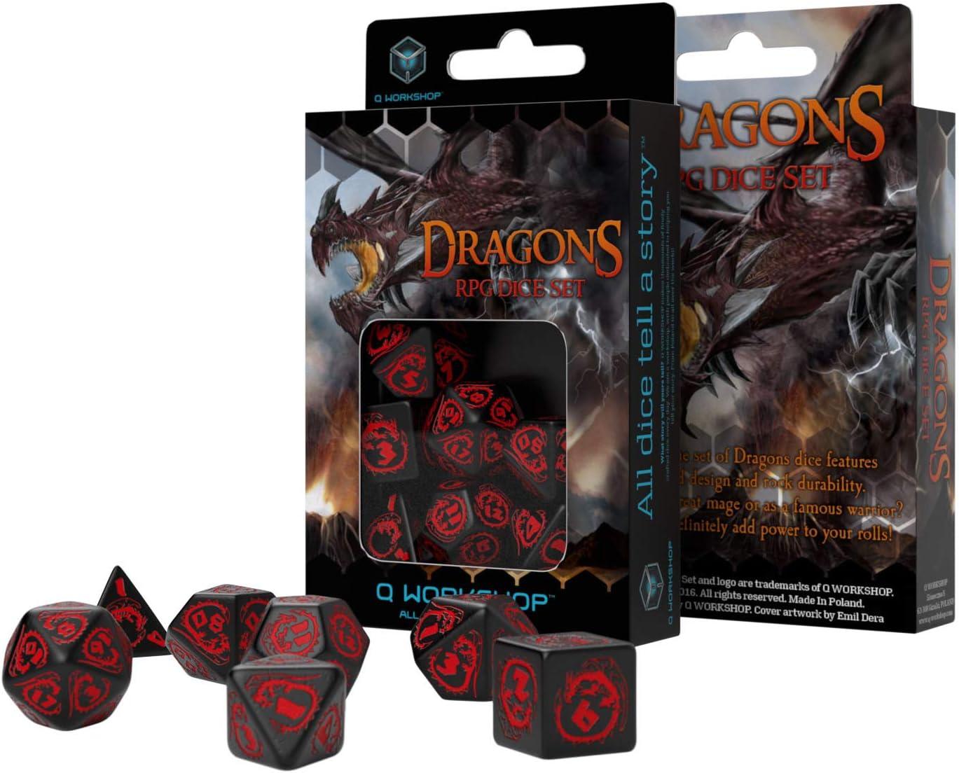 Q-Workshop Dados de Dragones (Negro-rojo): Amazon.es: Juguetes y juegos