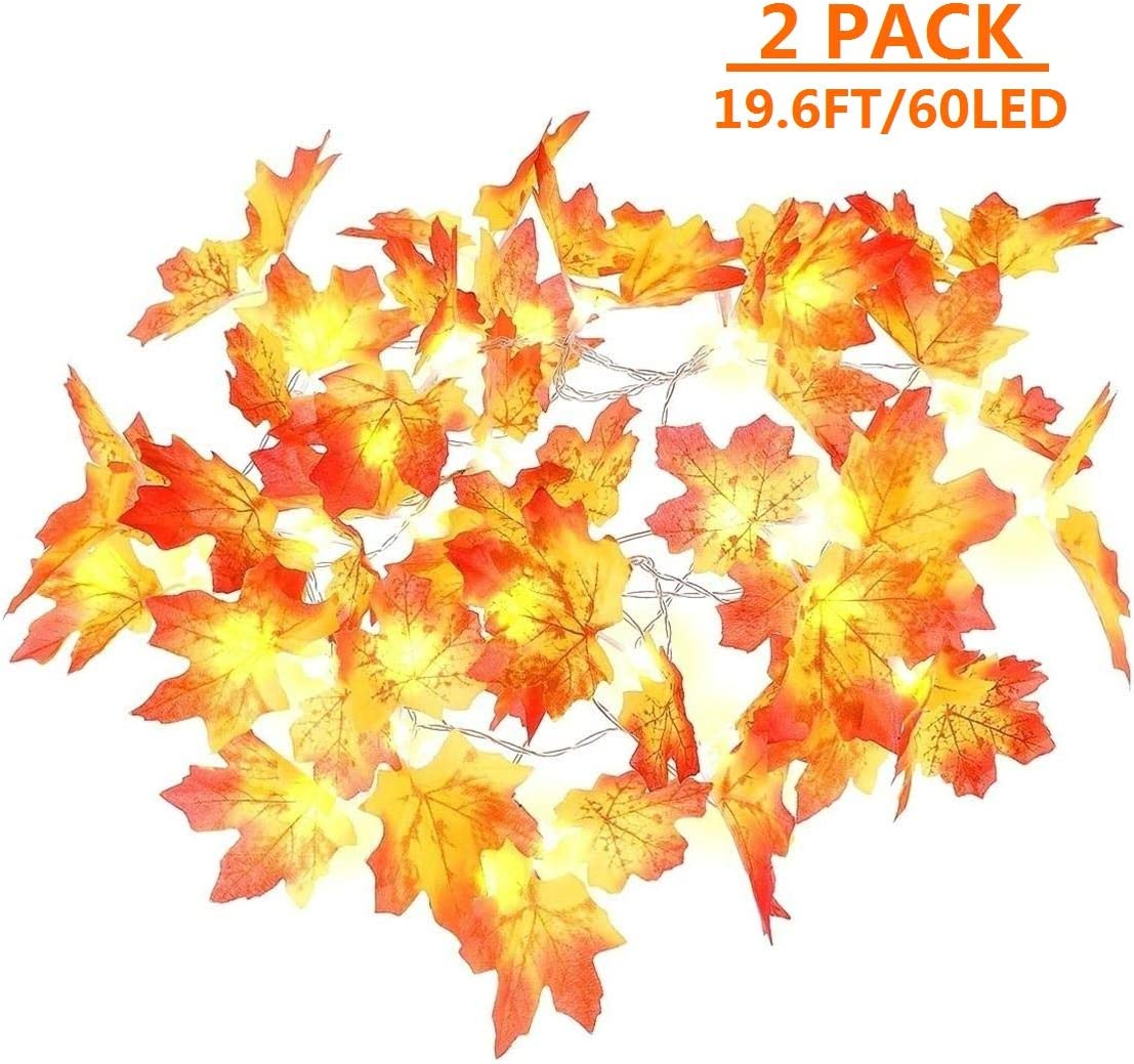 MAOYUE Fall Decorations 2 Pack Lighted Fall Garland 19.6 Ft 60 LED Waterproof Autumn Leaf Garland, Battery Operated Fall String Lights with Timer for Halloween, Thanksgiving, Outdoor Autumn Decor