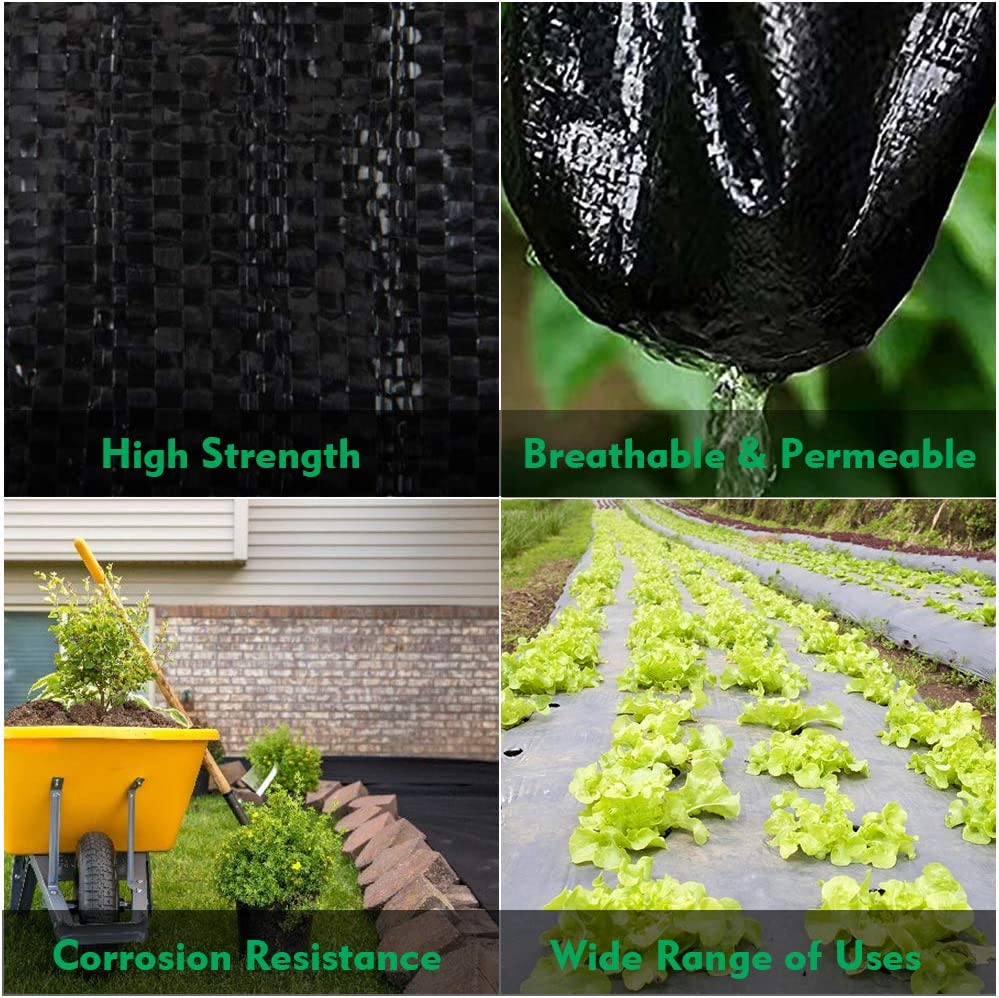 kdgarden Premium 5oz Pro Weed Barrier Landscape Fabric Ground Cover Heavy Duty Commercial Anti-Weed Gardening Mat Black 5ft x 300ft