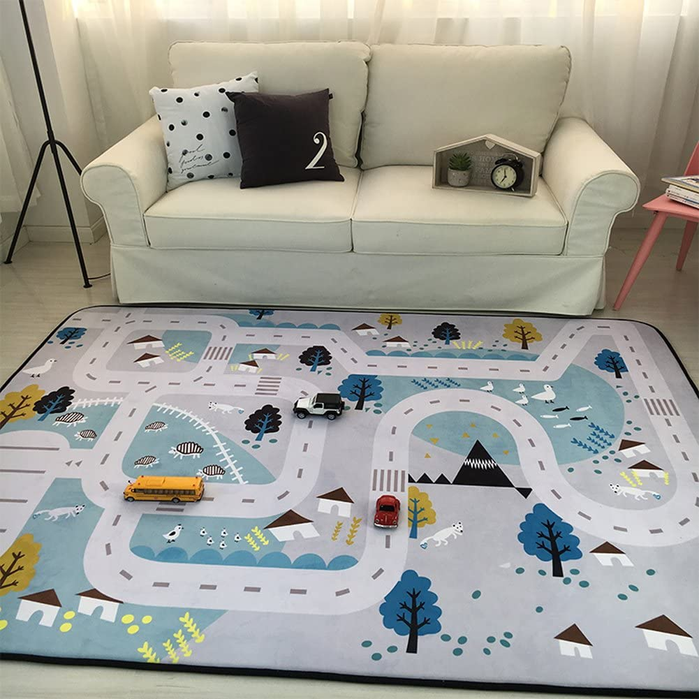 Play Mat for Baby Grey Area Rug Foam Play Mat Living Room Floor Mats Baby  Crawling Mats Climbing Pad Nursery Rug Carpet, Village, 13 by 13 Inches