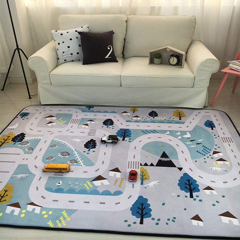 MAXYOYO Play Mat for Baby Grey Area Rug Foam Play Mat Living Room Floor Mats Baby Crawling Mats Climbing Pad Nursery Rug Carpet, Village, 59 by 79 Inches