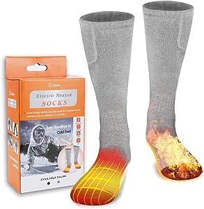 M.Jone Heated Socks, Electric Heating Socks for Men Women, Winter Warm Cotton Socks Camping/Fishing/Cycling/Motorcycling/Skiing…
