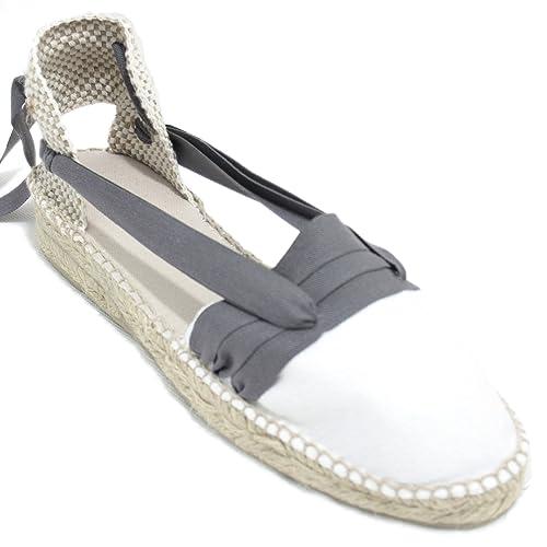Espardenya.cat Alpargatas Hechas a Mano Tradicionales de Media Cuña Diseño Tres Vetas Color Gris: Amazon.es: Zapatos y complementos