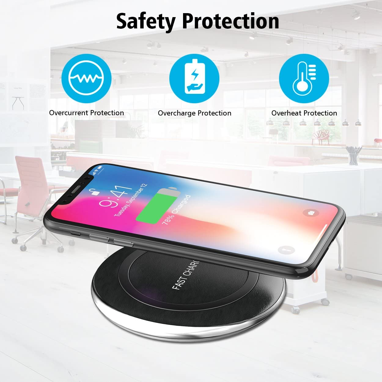 Qi Wireless Charger 10W Quick Charging Compatible with Samsung S10 Note 10 9 7.5W Fast Charging Pad Compatible with iPhone 11 Pro Max Xs MAX XR X 8 Plus