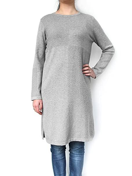 7586d0ba DSUK Womens Soft Cosy Long Sleeve Sweater Dress Jumper Plaid Knee Length  Baggy Crew Neck Fancy Tunic Top Pullover