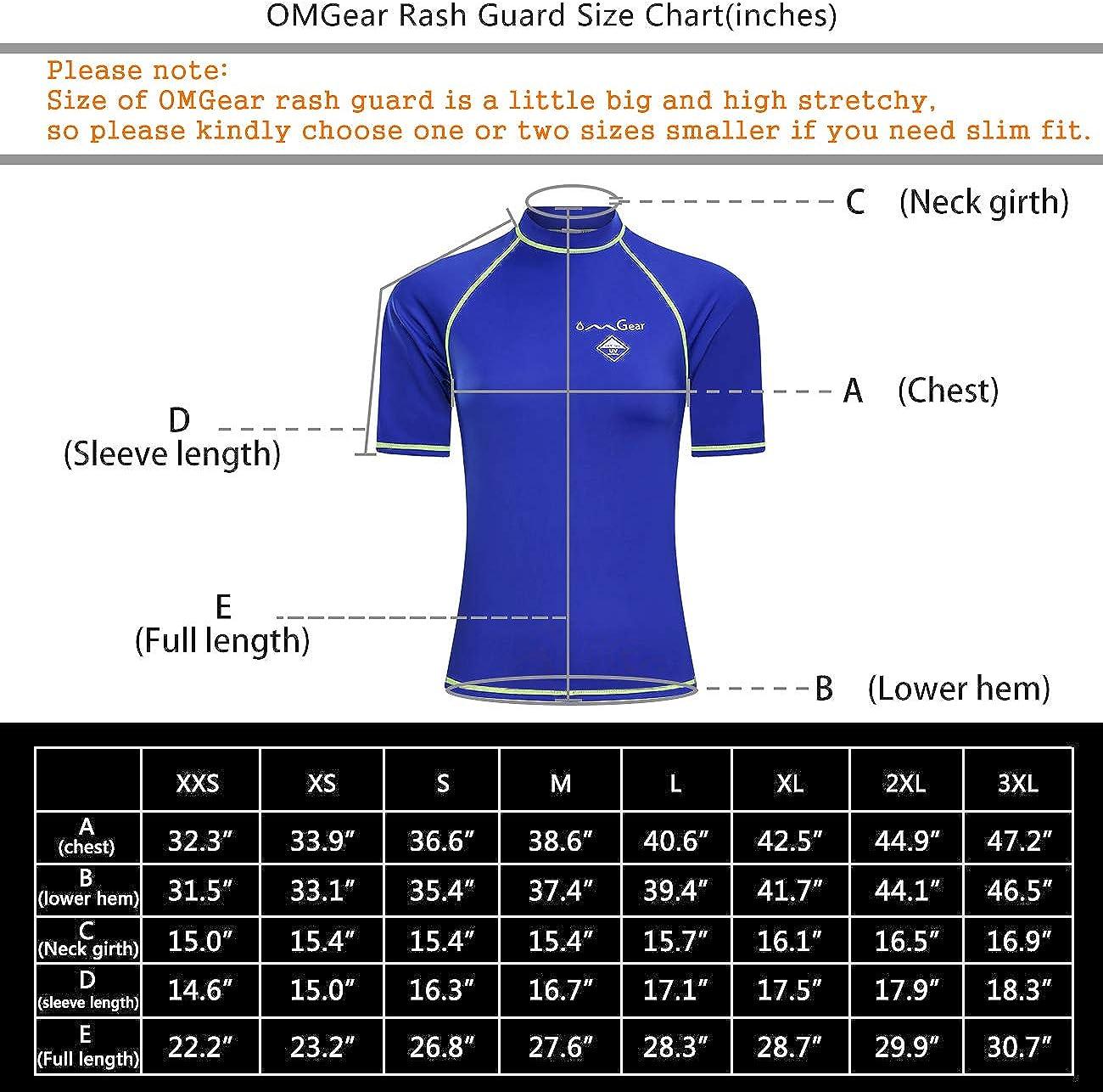 OMGear Rash Guard Swim Shirt Sun Block Short Long Sleeve Surf Tee Swimsuit Top