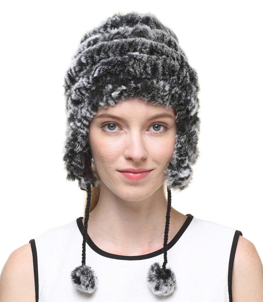vogueearth Women'Real Knitted Rabbit Fur Winter Warmer Hat Black-Grey